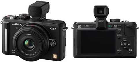 La cámara compacta de objetivos intercambiables Panasonic GF1 permite la instalación de un visor electrónico externo