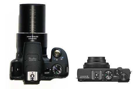 La Canon Powershot SX50 HS tiene un  potente zoom 28 - 1.500 mm mientras que la Nikon Coolpix A tiene un objetivo fijo de 28 mm