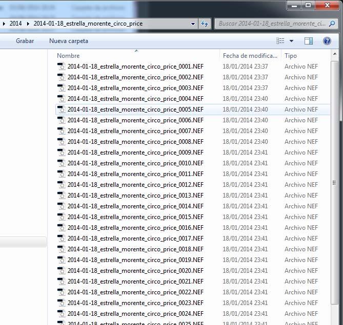 En esta imagen podemos ver un ejemplo de nombres de archivos