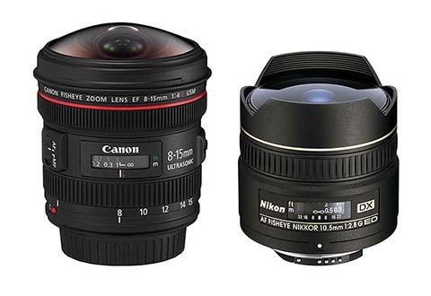 Objetivos ojo de pez de Canon y Nikon