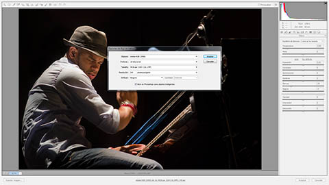 En el cuadro de diálogo de opciones de flujo de trabajo de Adobe Camera RAW se puede seleccionar la profundidad de color que tendrá la imagen revelada