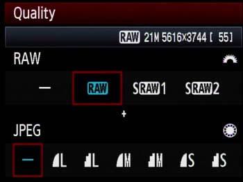Selección de formato y calidad de imagen en una cámara Canos EOS 5D Mark II