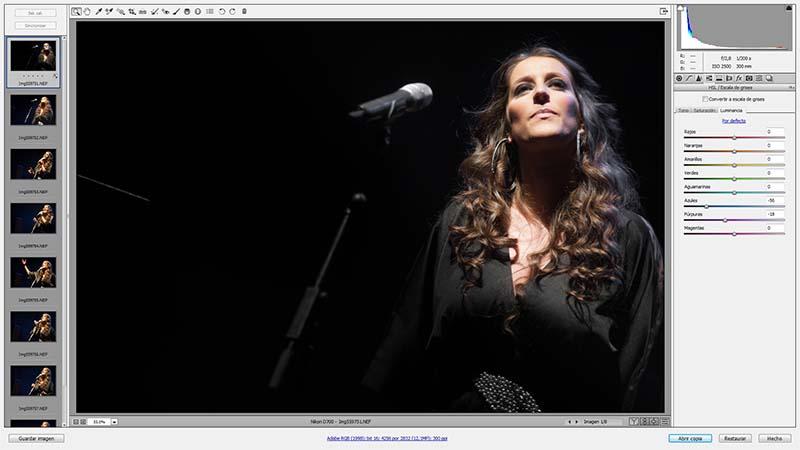 Con Adobe Camera RAW se puede realizar el revelado simultáneo de varias imágenes
